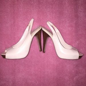 Peep Toe Jessica Simpson Ivory Leather Heels
